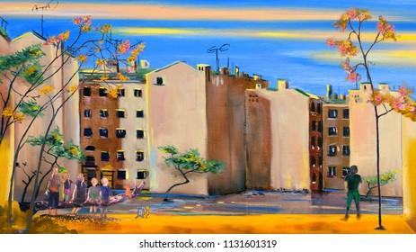 Oil painting of Saint-Petersburg cityscape