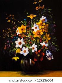 Peinture à l'huile de fleurs de printemps dans un vase sur toile