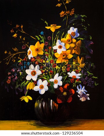 Oil Painting Spring Flowers Vase On Stock Photo Edit Now 129236504