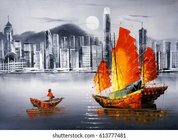 Oil Painting - Victoria Harbor, Hong Kong