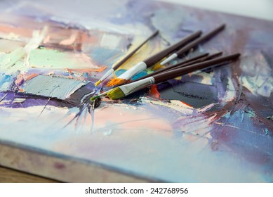 Oil paintings with brush on canvas.