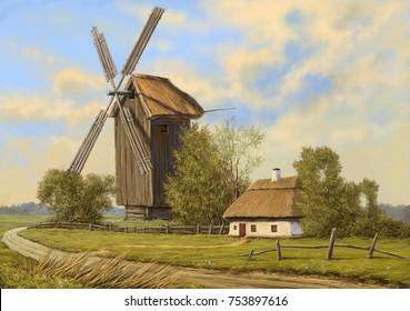 Oil paintings rural landscape. The art, fine art..jpg