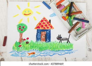 oil pastels drawing: country house