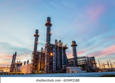 Oil petrochemical refinery plant with sunset