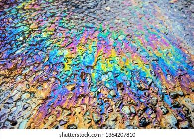 Oil Petrol Pollution Leak  Rainbow Leak on Pavement