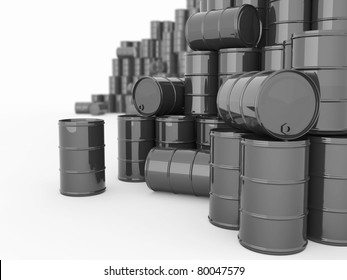 Oil and Petroleum. Barrels on white isolated background.