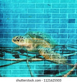 Oil piant graphic art on brick wall