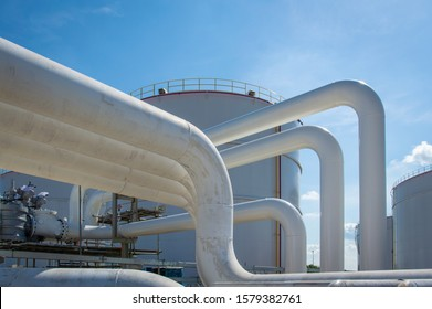 Oil pipeline and Oil storage tank farm in the petroleum refinery.Above ground storage tanks can be used to hold materials such as petroleum,waste matter, water,chemicals,and other hazardous materials.