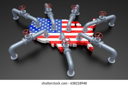 Oil Pipes and Valves on United States Flag Color Map. 3D Illustration