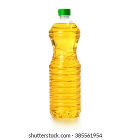 oil in plastic bottle isolated on white background