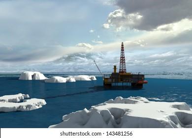 Oil platform in the Arctic Ocean.