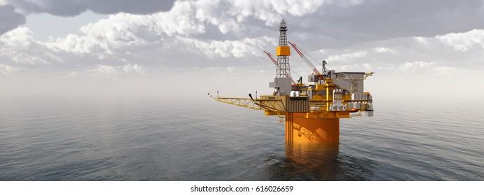 Oil platform Computer generated 3D illustration