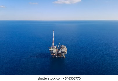 Oil platform in the Gulf of Mexico - aerial view