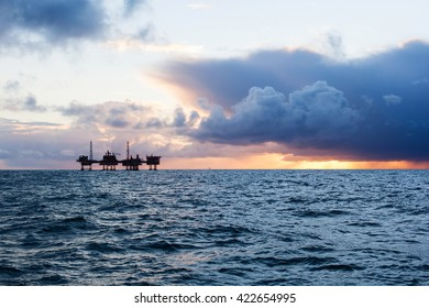 Oil platform in Norway at sunset
