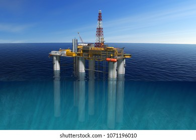 Oil platform in the Ocean, extraction of fuel resources. 3D illustration.