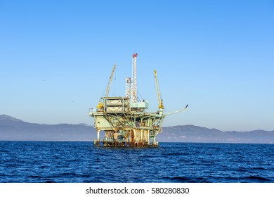 An oil platform off the coast of Santa Barbara run by Exxon Mobile produces crude that is converted to gasoline.