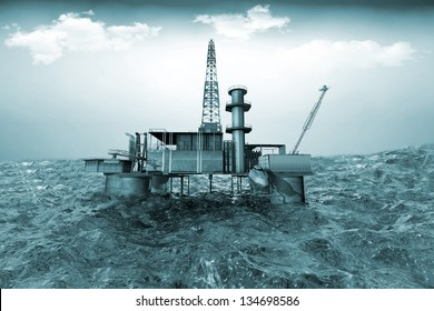 Oil platform on background of ocean. 3D illustration