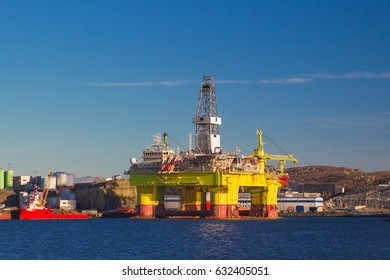 Oil platform under maintenance near Bergen, Norway.