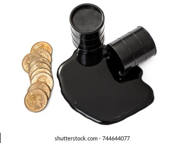 Oil is poured out of the barrel and full barrel of oil with golden coins. Isolated on white. Top view.