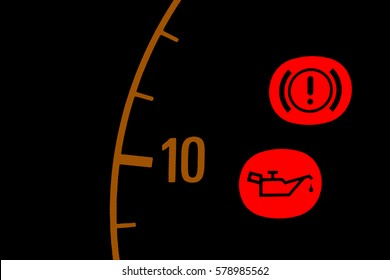 Oil pressure red light icon on car dashboard