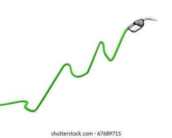 Oil price rise chart concept image, isolated on white background.
