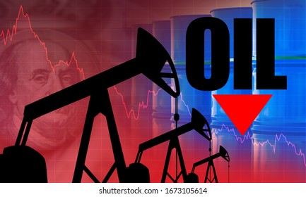 Oil prices are falling down. The arrow points down. Falling price charts. The inscription oil next to franklin. Concept - OPEC regulates the price of oil. OPEC Negotiation Price Reduction