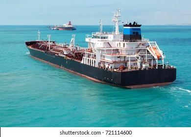 Oil product tanker is underway.