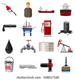 Oil production icons set. Cartoon illustration of 16 oil production  icons for web