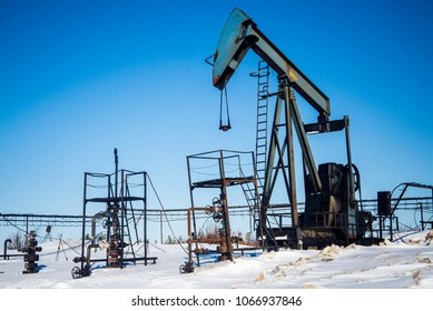 Oil production in Russia, Khanty Mansiysk Autonomous Okrug, winter Picture taken in March 2017