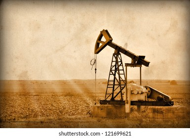 Oil Pump in the Bulgaria, Balkans.Photo in old image style.