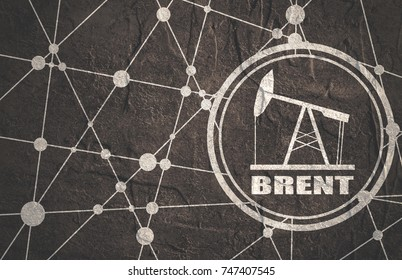 Oil pump icon and Brent crude oil name. Energy and power relative backdrop. Molecule and communication style background. Connected lines with dots. Grunge concrete texture
