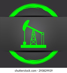 Oil pump icon. Internet button with green on grey background.