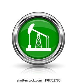 Oil pump icon. Metallic internet button on white background.