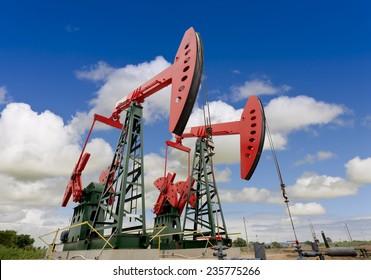 oil pump jacks on a oil field