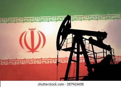 Oil pump on background of flag of Iran