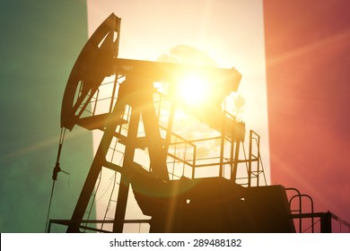 Oil pump on background of flag of Mexico