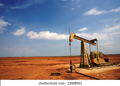 An oil pump or pumpjack on the plains of west Texas, United States of America