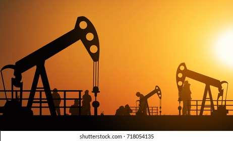 Oil pump oil rig energy industrial machine for petroleum in the sunset