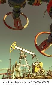 Oil pumpjack, industrial equipment. Extraction of oil. Petroleum concept.