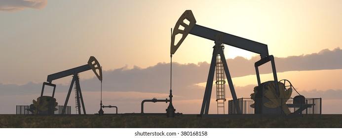 Oil pumps Computer generated 3D illustration
