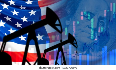 Oil pumps next to the USA flag. America flag next to growing charts. Concept - increase in the cost of gasoline. Charts for oil prices go up. Increase in cost of shale oil. Franklin. Export.