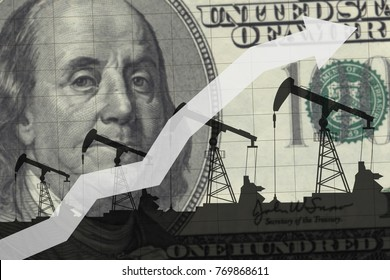 Oil pumps on the background of 100 dollars.Oil industry concept. Raising prices chart