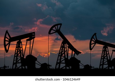 Oil Pumps on the sunset