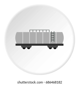 Oil railway tank icon in flat circle isolated  illustration for web
