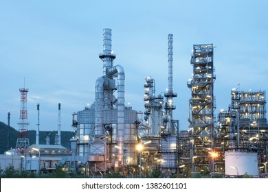 Oil refineries and petrochemical plants Natural gas storage tanks at twilight