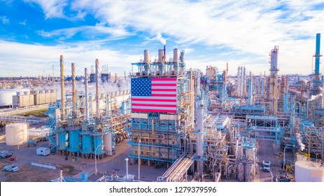Oil Refinery with American Flag from Above. California
