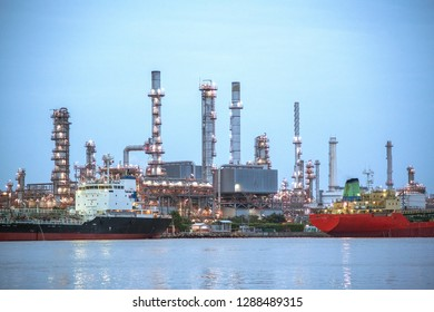 Oil refinery And the oil boat in the river