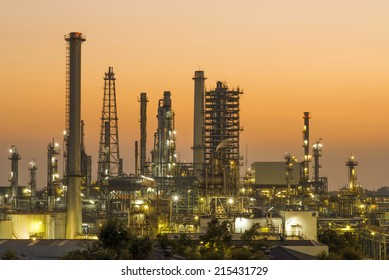 Oil refinery in the evening, before twilight time