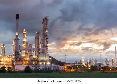 Oil Refinery factory at dark , Petroleum, petrochemical plant