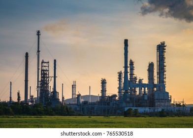 oil refinery factory at dawn